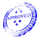 blue approved stamp on a white background poster