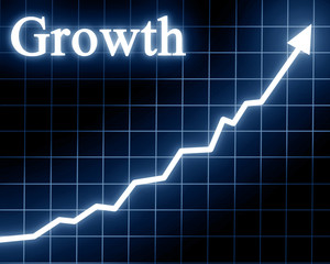 Arrow graph going up with growth written on it