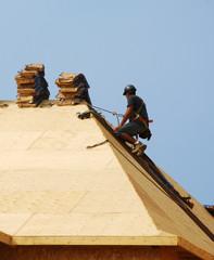 Roofer On Harness