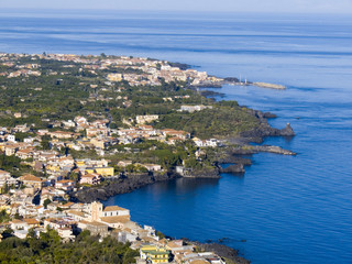 Panorama aerial on the sea and the village of the lemons coast