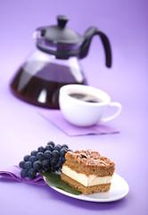 Delicious cream cake and coffee.