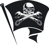 Vector motor Jolly Roger flag
