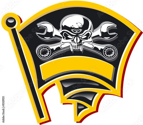 Vector motor Jolly Roger badge