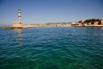 venetian port with lighthouse of Chania, greek island of crete