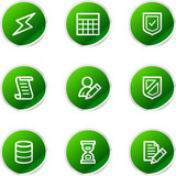 Database icons, green stickers series poster