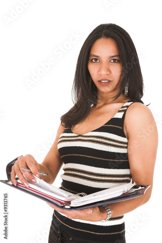 African businesswoman in black office outfit on a white