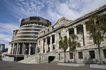 Parliament buildings, The beehive, Wellington, New Zealand