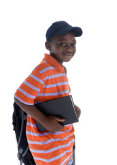 A young black student ready for school. Isolated on white