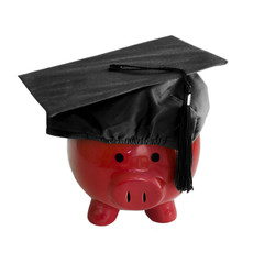 Piggy Bank with college graduation cap