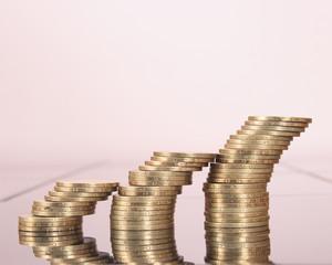 Coins stacks close-up
