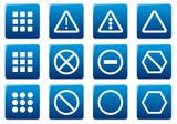 Gadget square icons set. Blue - white palette. Vector. poster