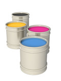 Conceptual image -  palette CMYK. Object over white poster