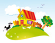 roleta: rural landscape with farm animals