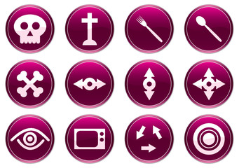 Gadget icons set. Purple - white palette. Vector illustration.
