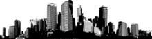 Czarno-białe panorama miasta. Wektor sztuki