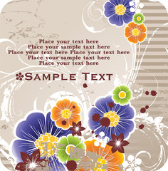 background with banner for your text and spring flowers