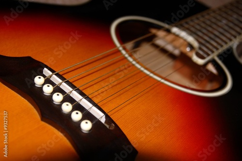 an abstract close up of an acoustic guitar