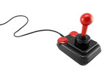 Classic joystick on white background poster