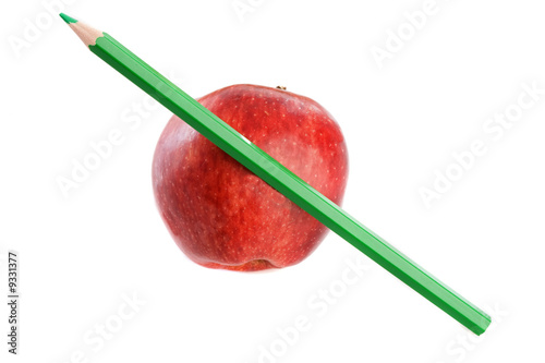 Apple red with green pen on a white background