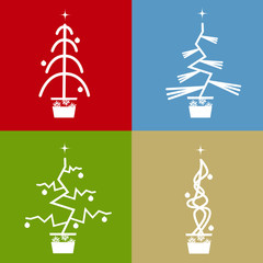 Set of four abstract vector christmas trees