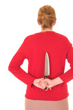 Blonde middle aged woman with a large carving knife hidden poster