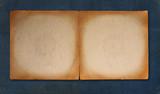 Worn Tattered Vintage Parchment Paper on Blue Linen Background poster