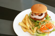 Tofu Vegetarian Burger With French Fries on a Plate