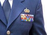 awards and decorations ribbons on military dress uniform poster