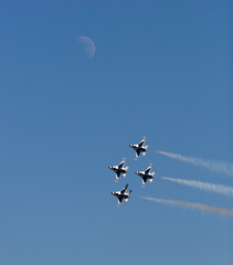 Thunderbirds with moon in background