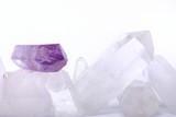 Fototapety Amethyst energized on quartz crystals -  semiprecious gems