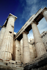 ancient pillars at the acropolis of athens