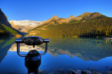 Coin-operated binocular in the front of Lake Louise, Canada