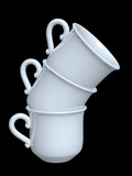 three porcelain coffee cups pile isolated on black background poster