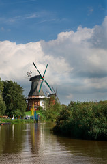 twin mills in Greetsiel-Germany-vivid color