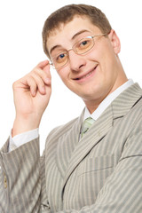 businessman smiling and touching glasses