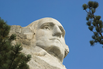 closeup view of George Washington on Mount Rushmore