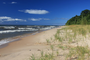 Attractive, deserted beach on Lake Michigan