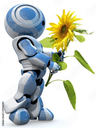 A glossy reflective 3d robot looking in awe at a large flower - 9346140