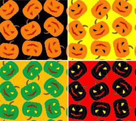 four seamless halloween pumpkin vector background