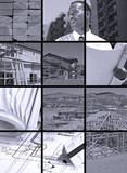 Collection and collage of in progress construction scenes poster