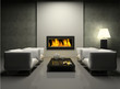 Modern interior with fireplace 3D rendering