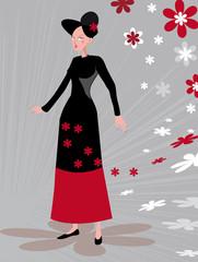 personnage féminin sur fond graphique gris avec fleurs rouges, b
