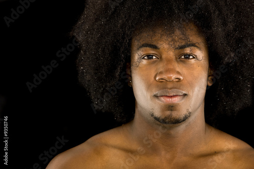 african american male portrait with an afro - isolated