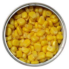 Maize corn in a tin can