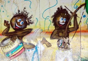 Batucada à Bahia, Enfants opeints sur un mur. Brésil.