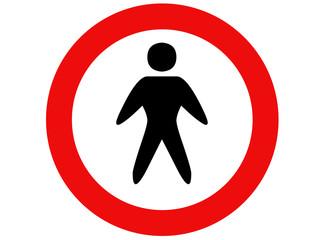 segnale divieto di accesso uomini