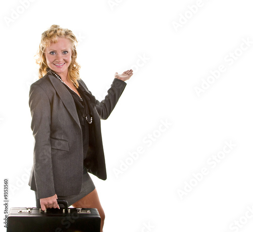 A businesswoman with curly blonde hair