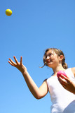 girl juggling in a blue sky poster