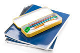 Metal pencil case and textbook with white background poster
