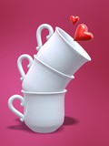 three porcelain coffee cups pile and love heart poster